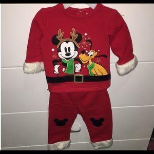 Disney Mickey/Pluto Infant Christmas 2 Pcs 6-9 Mo